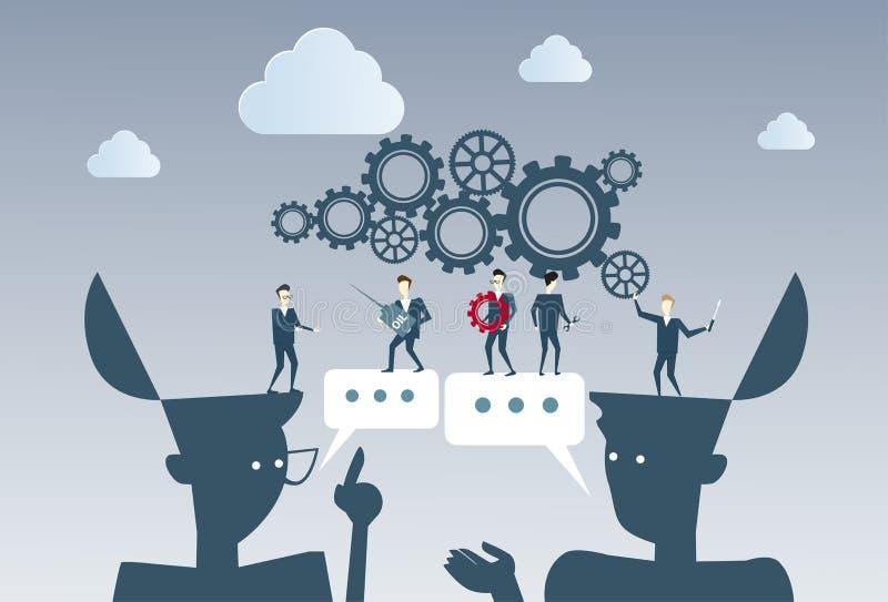 Les gens d'affaires groupent sous le travail de roue de dent faisant un brainstorm ensemble le concept de processus de stratégie illustration libre de droits