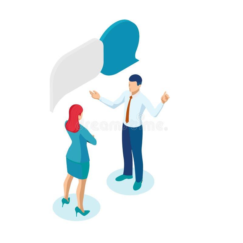 Les gens d'affaires isométriques qui travaillent et parlent Bulle, Brainstorming, Business Corporate Meeting concept illustration stock
