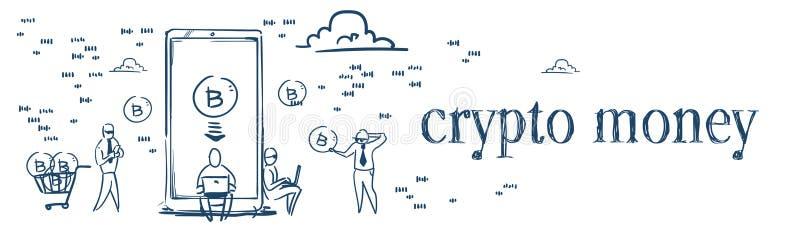 Les gens d'affaires mobiles d'argent d'application de Bitcoin extrayant le cryptocurrency en ligne inventent dans le blanc de con illustration libre de droits