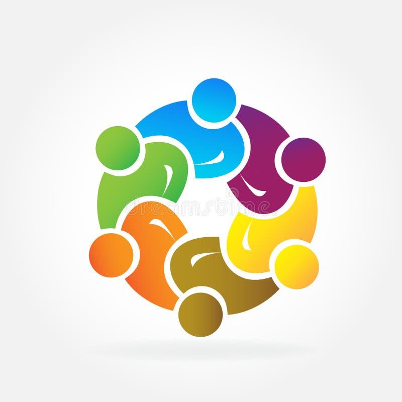 Les gens d'affaires d'unité de travail d'équipe de logo partners l'amitié dans une étreinte illustration de vecteur