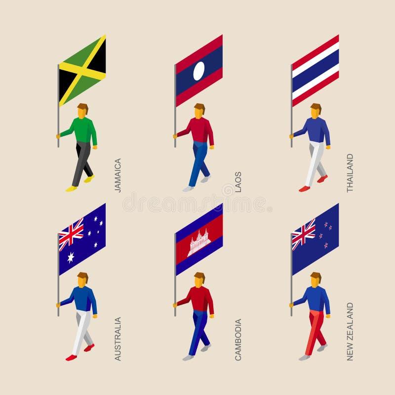 les gens 3d avec des drapeaux Cambodge, Australie, la Zélande, Laos, Thailan illustration de vecteur