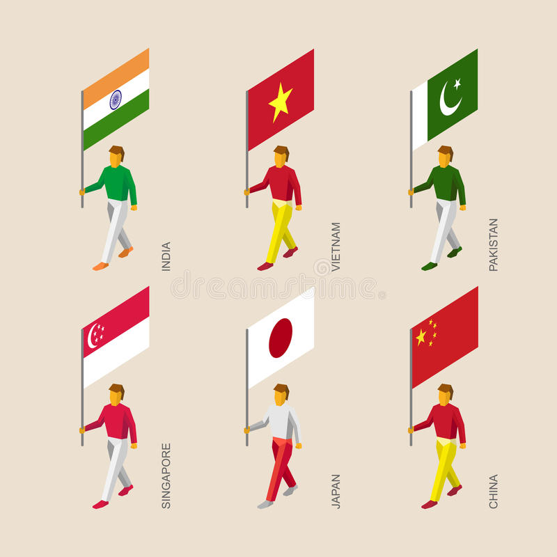 les gens 3d avec l'Inde de drapeaux, Vietnam, Chine, Singapour, Pakistan, illustration stock