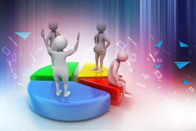 les gens 3d avec le graphique circulaire, concurrence d'affaires illustration libre de droits