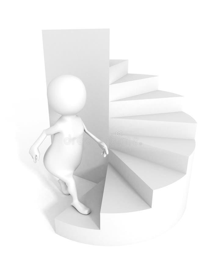 les gens 3d que le caractère intensifient des escaliers élèvent l'échelle tordue illustration libre de droits