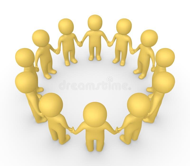 les gens 3d se tenant en cercle et tenant des mains ensemble illustration libre de droits
