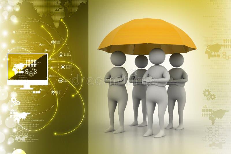 les gens 3d sous le parapluie, concept de travail d'équipe illustration stock