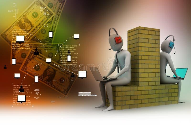 les gens 3d travaillant dans l'ordinateur portable illustration stock