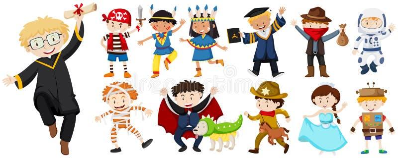 Les gens dans différents costumes illustration stock