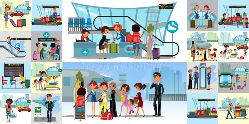 Les gens dans les icônes plates de couleur d'aéroport ont placé des touristes pilotes d'hôtesse avec des sacs de voyage au point  illustration de vecteur