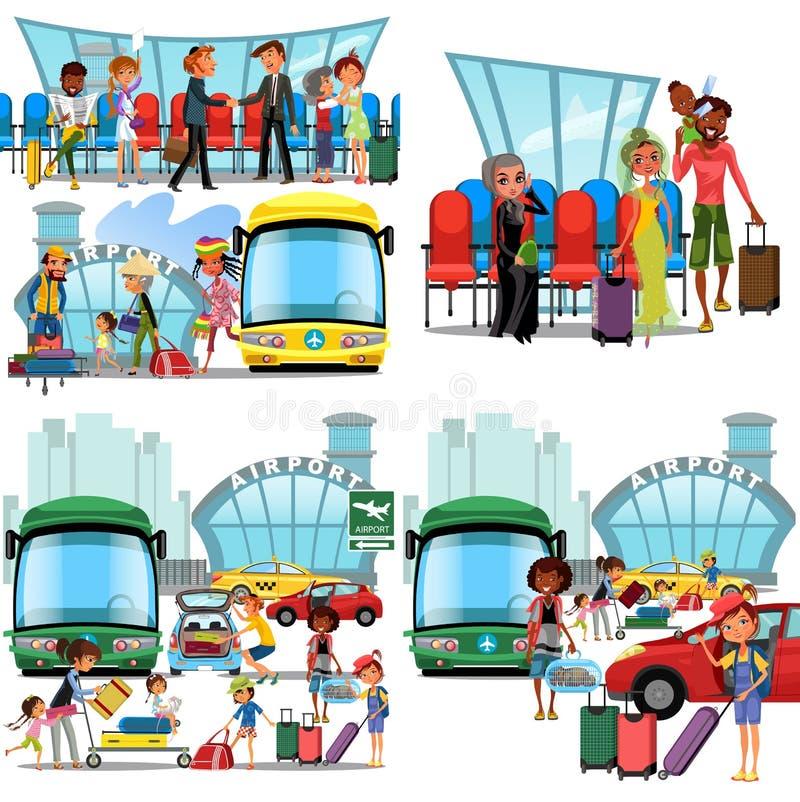 Les gens dans les icônes plates de couleur d'aéroport ont placé des touristes pilotes d'hôtesse avec des sacs de voyage au point  illustration libre de droits