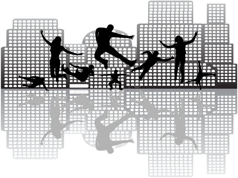 Les gens dans l'action et les constructions illustration de vecteur