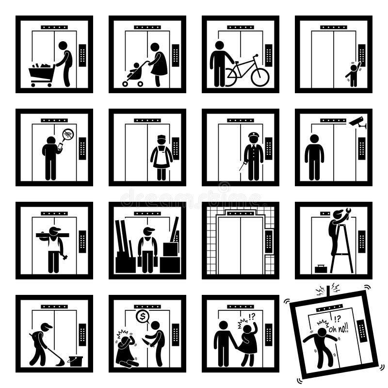 Les gens dans l'ascenseur soulèvent (2ème version) des icônes de Cliparts illustration de vecteur