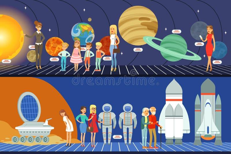 Les gens dans l'ensemble de planétarium, illustrations horizontales de vecteur de musée d'éducation d'innovation illustration de vecteur
