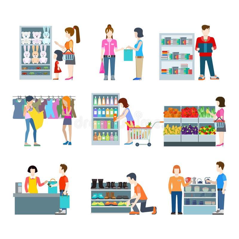 Les gens dans l'ensemble plat d'icône de centre commercial illustration libre de droits