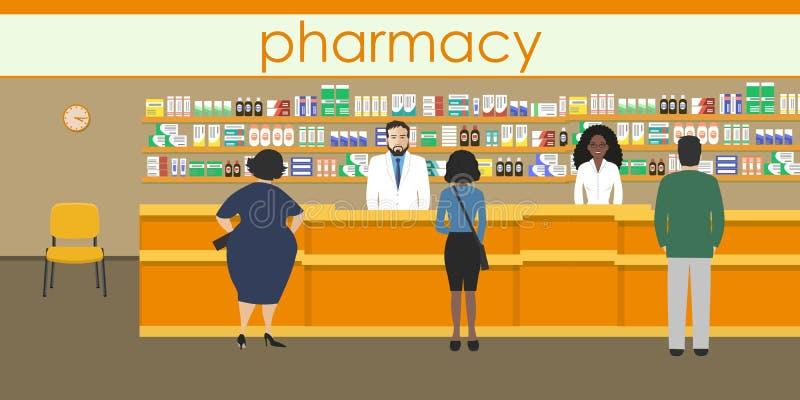 Les gens dans la pharmacie orange illustration libre de droits