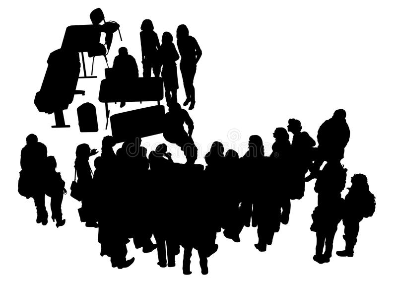 Les gens dans le bureau sept illustration libre de droits