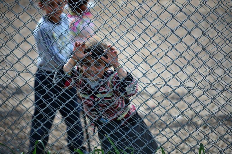 Les gens dans le camp de réfugié images libres de droits