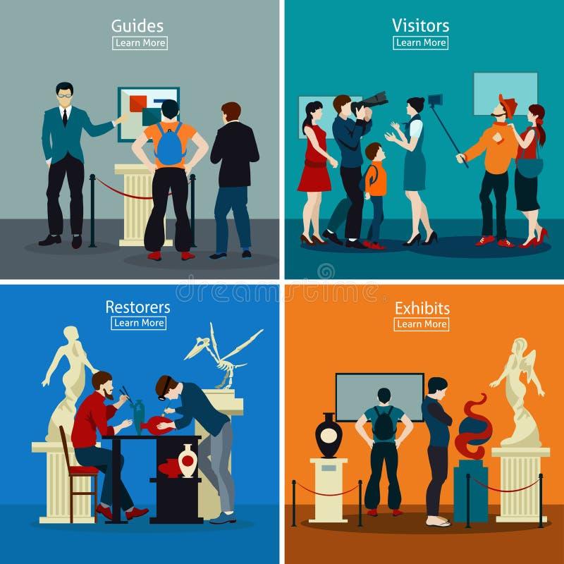 Les gens dans le concept de construction de musée et de galerie 2x2 illustration de vecteur