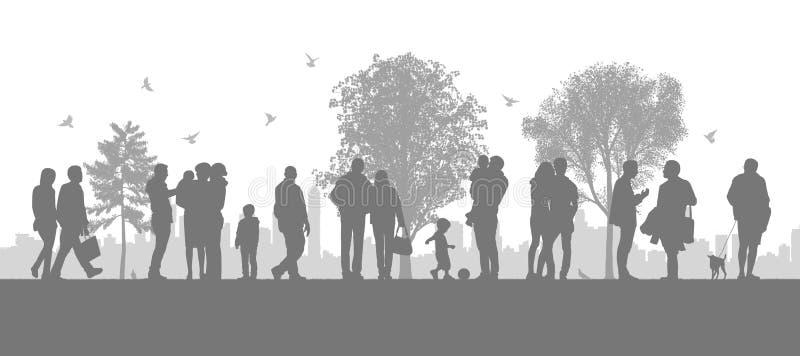 Les gens dans le parc de ville illustration stock