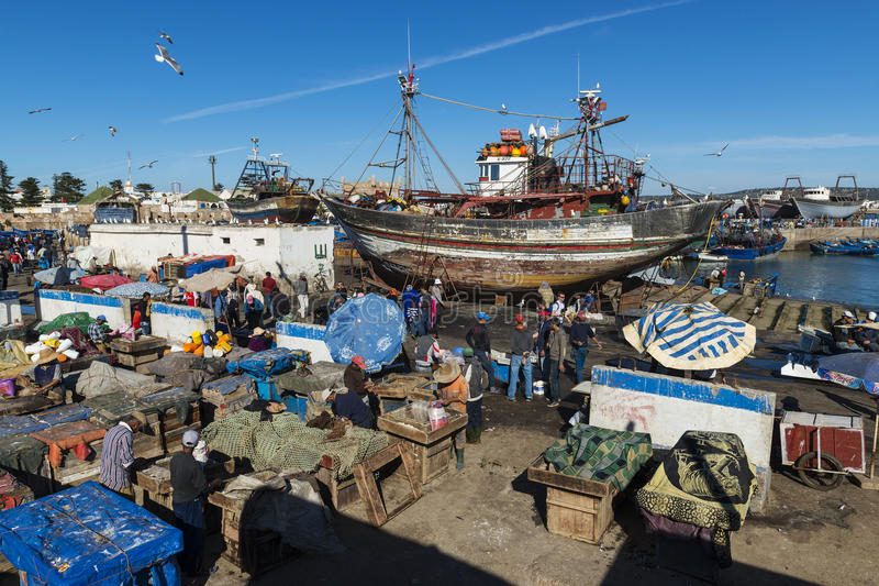 Les gens dans le port de pêche d'Essaoira dans la côte atlantique du Maroc, Afrique du nord photographie stock