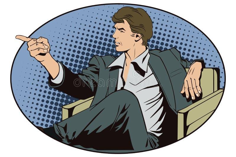 Les gens dans le rétro art de bruit de style et la publicité de vintage L'homme s'asseyant dirige un doigt illustration stock