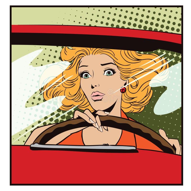 Les gens dans le rétro style Femme effrayée conduisant une voiture illustration de vecteur