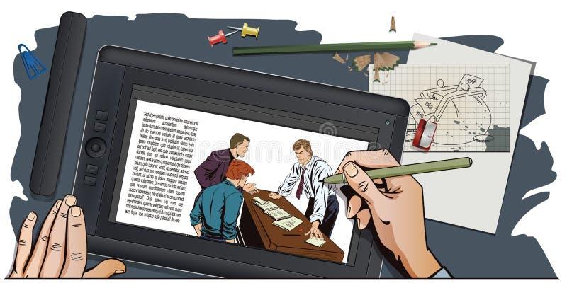 Les gens dans le rétro style Homme d'affaires Bossage et subalternes illustration stock