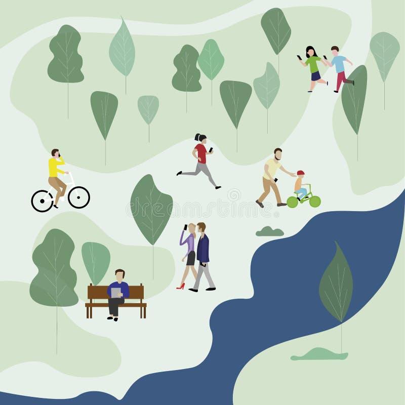 Les gens dans le smartphone vert d'utilisation de parc illustration libre de droits