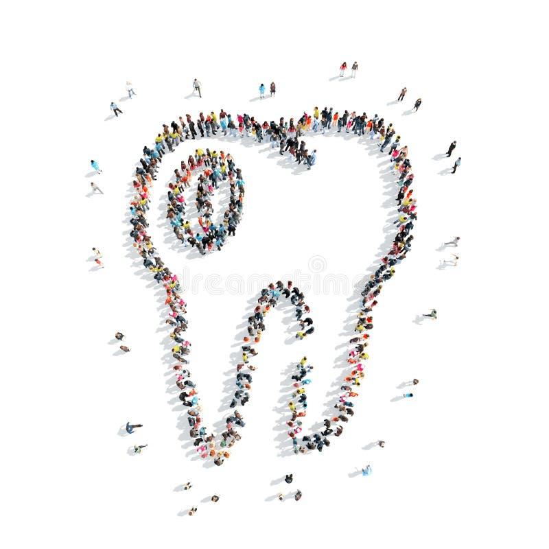 Les gens dans le theshape d'une dent, art dentaire illustration libre de droits