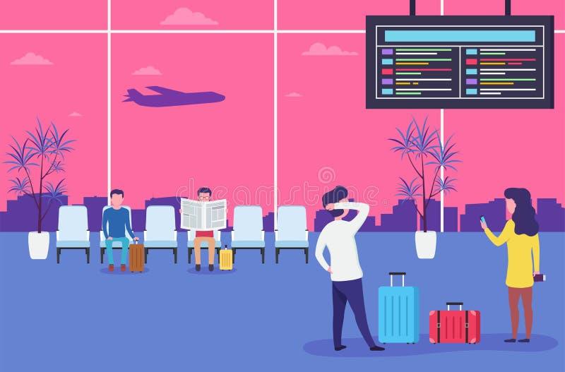 Les gens dans le vol de attente d'aéroport Hommes et femmes s'asseyant et se tenant dans la salle d'attente avec des fauteuils illustration de vecteur