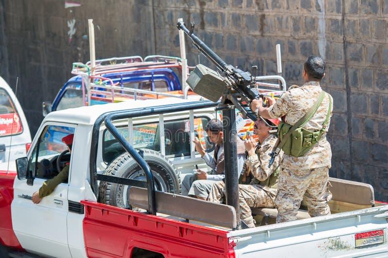 Les gens dans Sana'a, Yémen photographie stock libre de droits