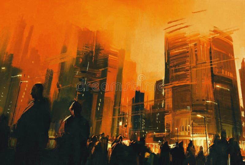 Les gens dans une ville se garent la nuit, illustration illustration stock