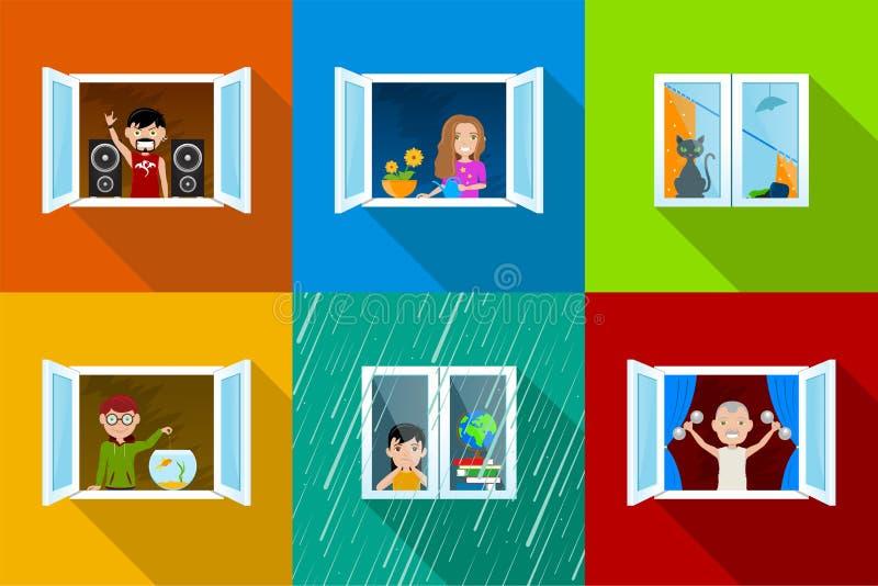 Les gens dans Windows illustration de vecteur