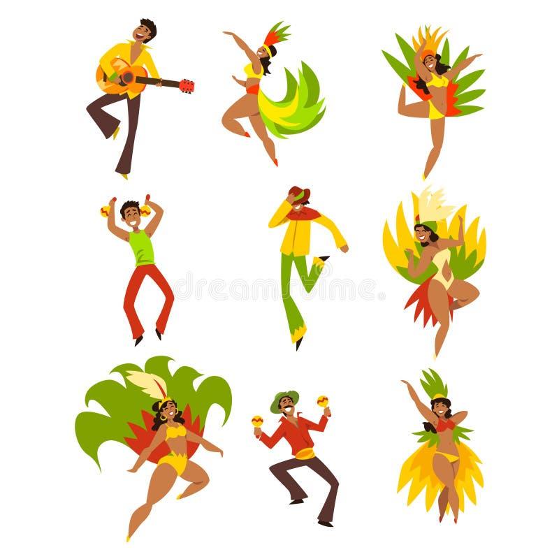 Les gens dansant et jouant la musique, le carnaval du Brésil, les hommes de danse et les femmes dans des costumes lumineux dirige illustration de vecteur