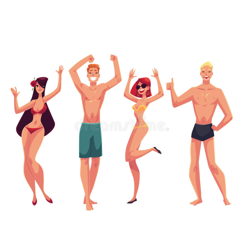 Les gens dansant sur la plage dans des costumes et des shorts de natation illustration stock