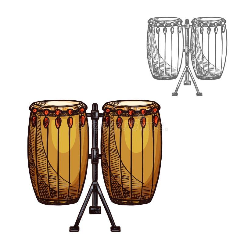 Les gens de croquis de vecteur battent du tambour de l'instrument de musique illustration libre de droits