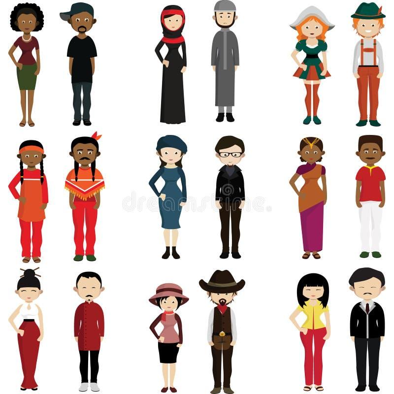 Les gens de différentes nations illustration de vecteur