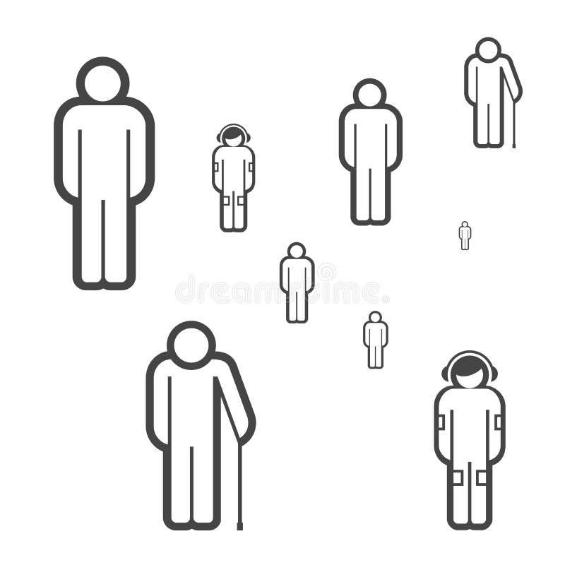 Les gens de différents âges dirigent des icônes Concept de société Groupe de personnes faits en ligne simple icônes illustration libre de droits