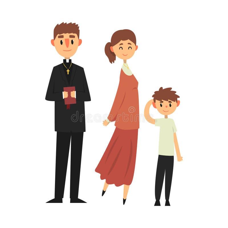 Les gens de la religion catholique dans des vêtements traditionnels, famille d'une illustration chrétienne de vecteur de prêtre illustration libre de droits