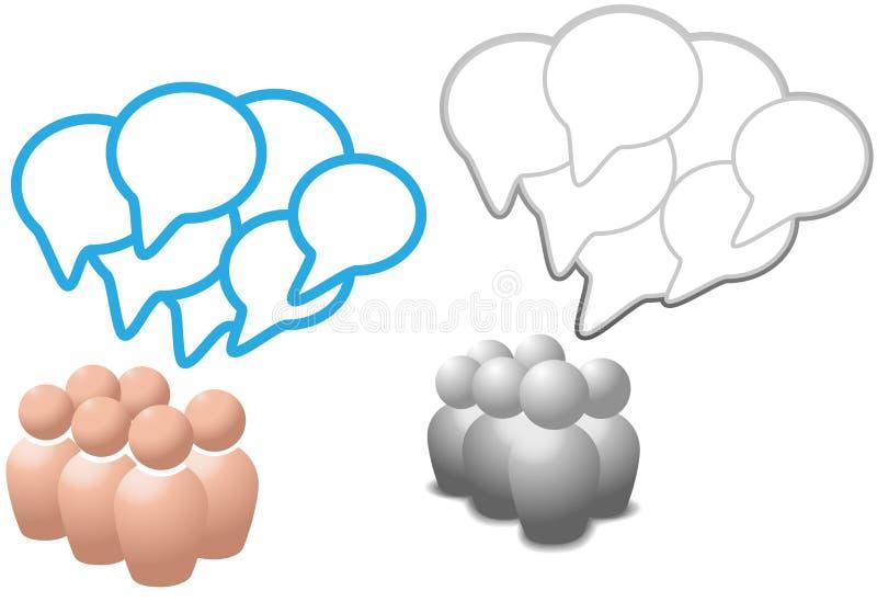 Les gens de symbole de bulles de la parole parlent des medias sociaux illustration libre de droits