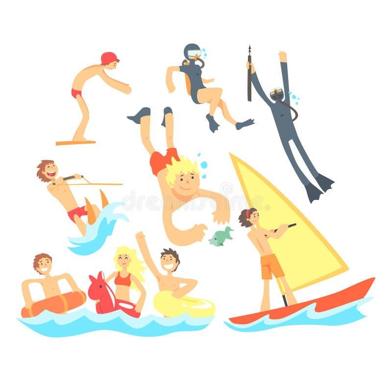 Les gens des vacances d'été à la mer jouant et ayant l'amusement avec des sports aquatiques sur la plage réglée des illustrations illustration de vecteur