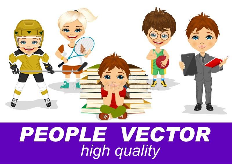 Les gens dirigent avec les caractères des enfants illustration de vecteur