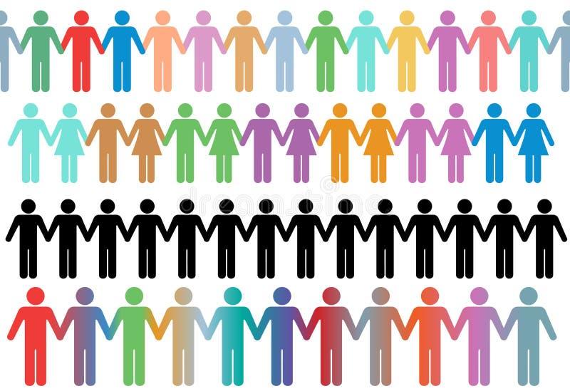 Les gens divers de symbole de lignes de cadre retiennent des mains illustration stock