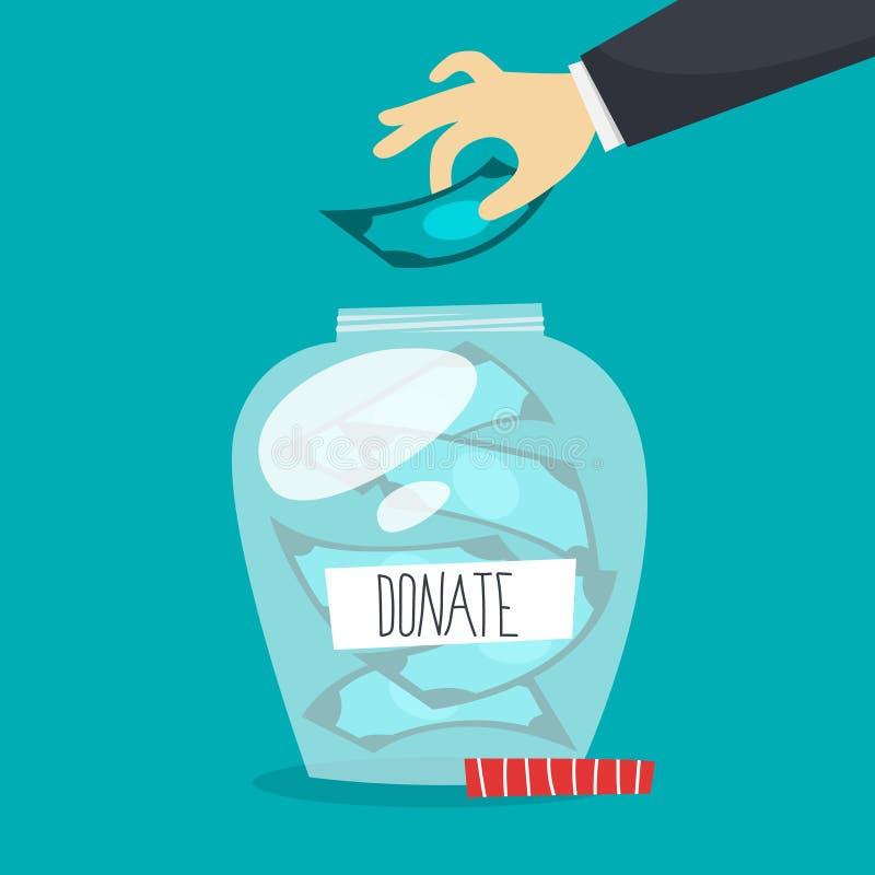 Les gens donnent l'argent pour aider de pauvres personnes illustration stock