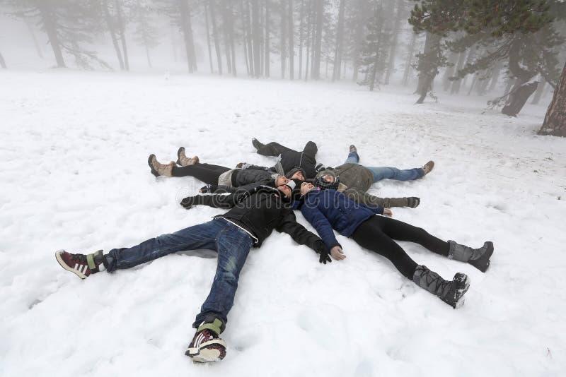 Les gens en hiver image libre de droits