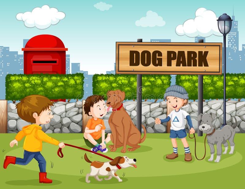 Les gens en parc de chien illustration stock