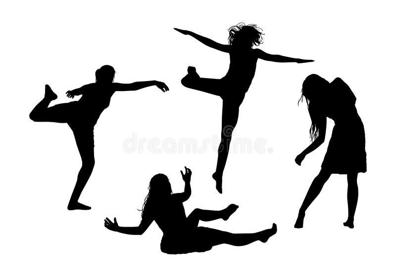Les gens en silhouettes de mouvement ont placé 1 illustration stock