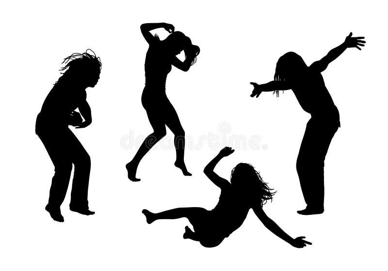 Les gens en silhouettes de mouvement ont placé 3 illustration libre de droits