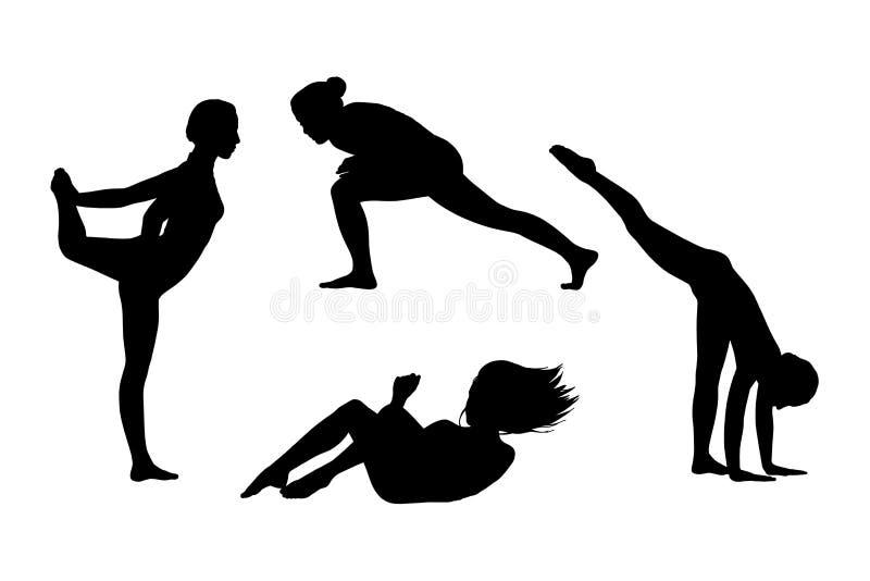 Les gens en silhouettes de mouvement ont placé 6 illustration de vecteur