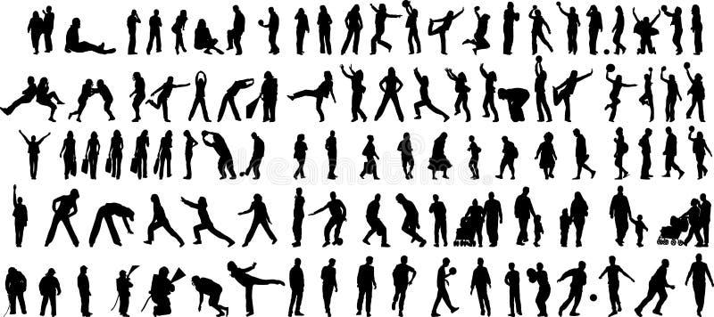 Les gens en silhouettes de vecteur d'action illustration libre de droits